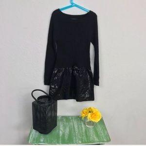 Sweater Dress Sequin Long Sleeve Black Sz M